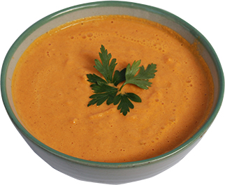 Cream of carrot-ginger soup with sesame tahini