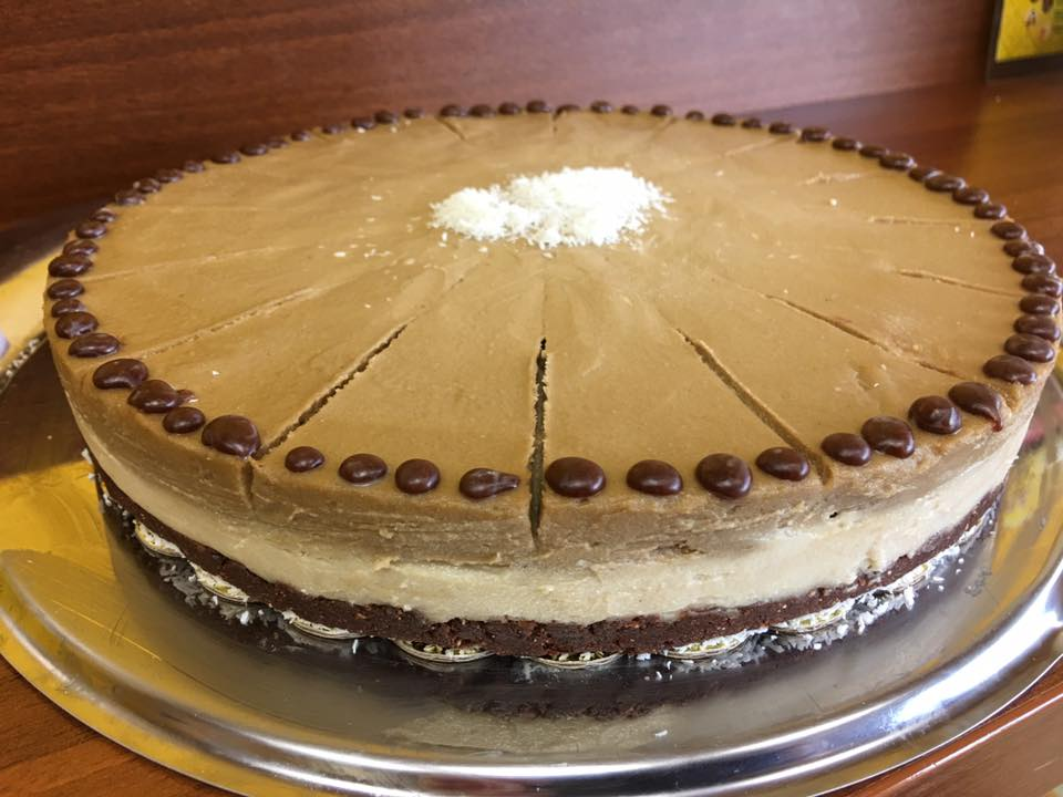 Торта с ванилов крем и крем кафе